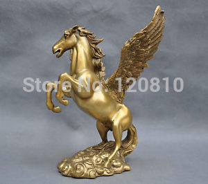 8'' China Pure Bronze Winged Flying Horse Statue