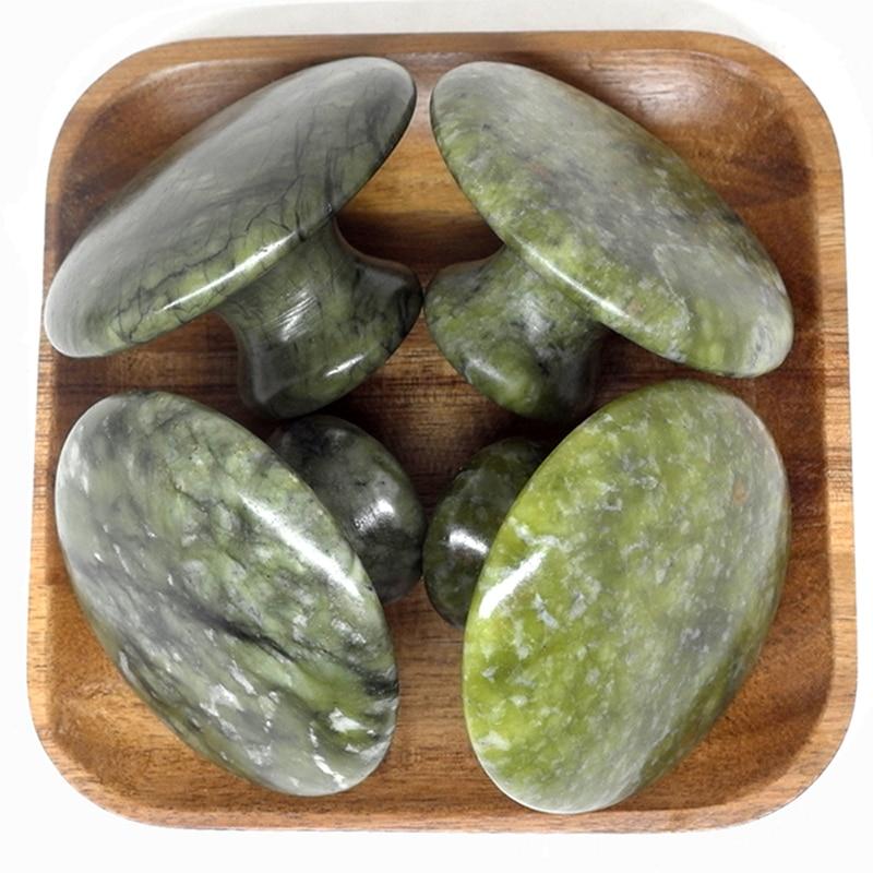 new 4pcs set mushroom shaped green jade body massage hot stone SPA set with 110V 220V