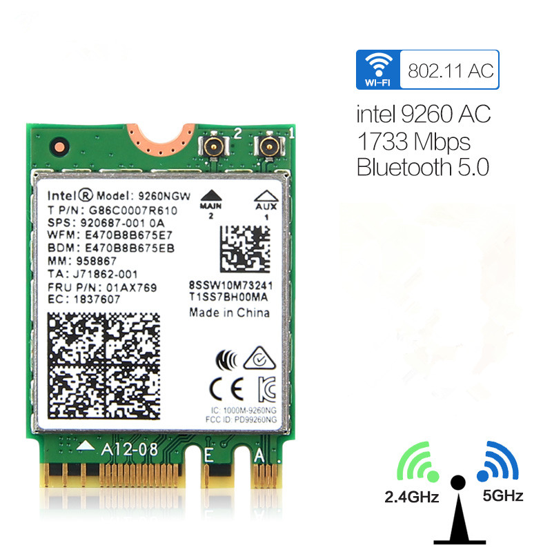 Dual Band Wifi 1.73Gbps Wireless Card For Intel 9260 9260NGW 2.4G/5Ghz 802.11ac Wifi Bluetooth 5.0 Gigabit M.2 NGFF Wlan Card