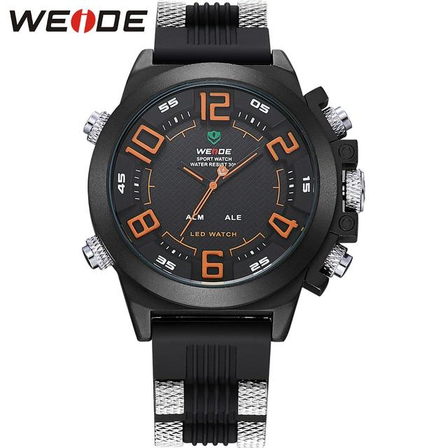 WEIDE Luxury Brand Men Watch Waterproof Digital Quartz LED Analog Date Alarm Display Stainless Steel Case Silicone Wrist Watches