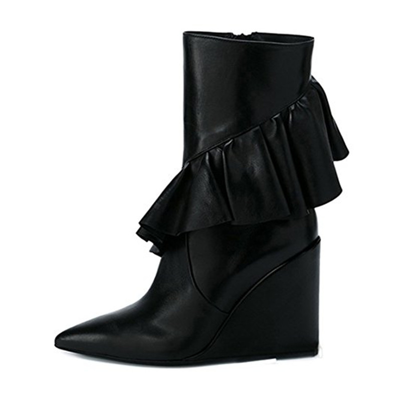 1be988951ff0 Prova Perfetto Fashion Pleated Ruffles Ankle Boots Faux Leather Runway Chic  Pointed Toe Women Booties Zapatos Mujer Ladies Shoes