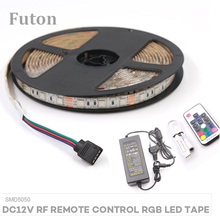 5m DC 12V Wireless RF Remote Control RGB LED Light Strip With Adapter SMD5050 Waterproof Flexible LED Tape For Decoration цены онлайн