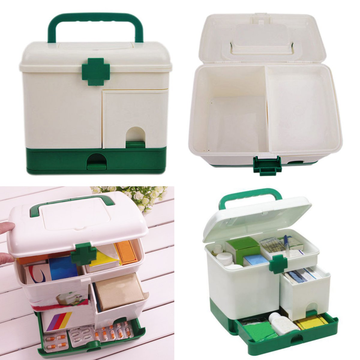Large Capacity Household Portable 3 Layer Medicine Drawer Health Storage Box First Aid Kit Case Bin Organizer