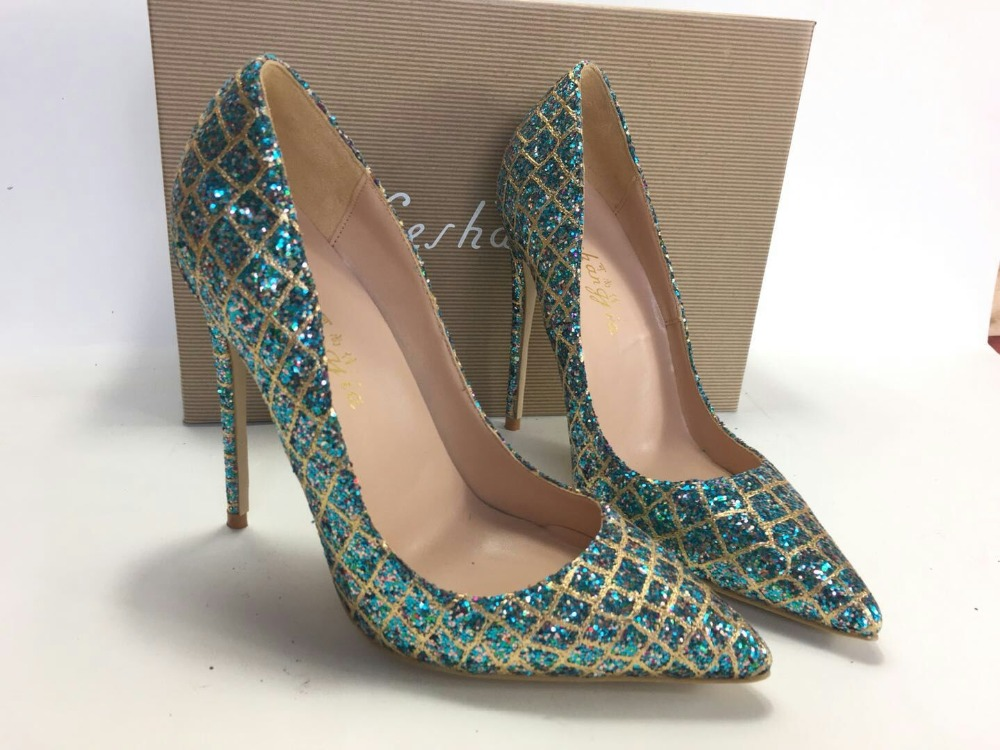 Image 3 - Keshangjia  Hot Sale Thin High Heels Woman Sexy Pointed Toe Pumps  Green Crystal Rhinestone Lady Party Dress Shoes PumpsWomens Pumps