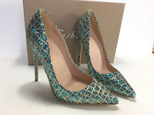 Image 3 - Keshangjia  Hot Sale Thin High Heels Woman Sexy Pointed Toe Pumps Green Crystal Rhinestone Lady Party Dress Shoes Pumps