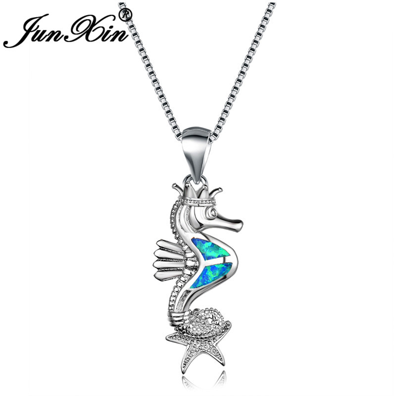 White Fire Opal Seahorse and Starfish Silver Jewellery Pendant for Necklace