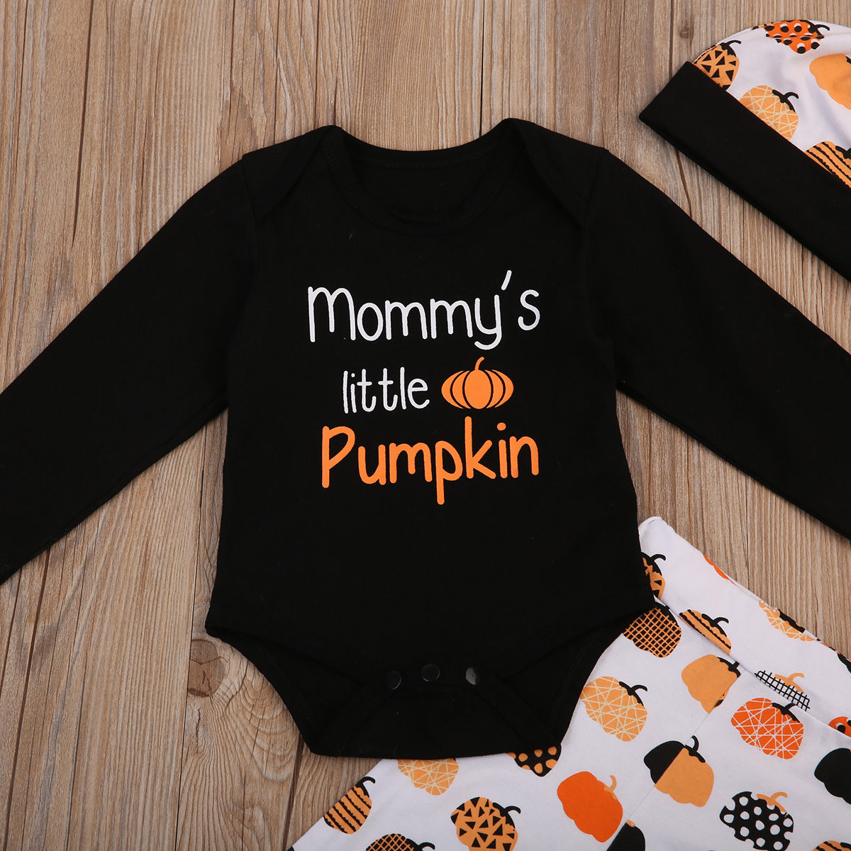 17 Cute Halloween Newborn Baby Boys Girls Winter Clothes Long Sleeve Romper Pants Leggings Cotton Pumpkin Print Outfit 3pcs 7