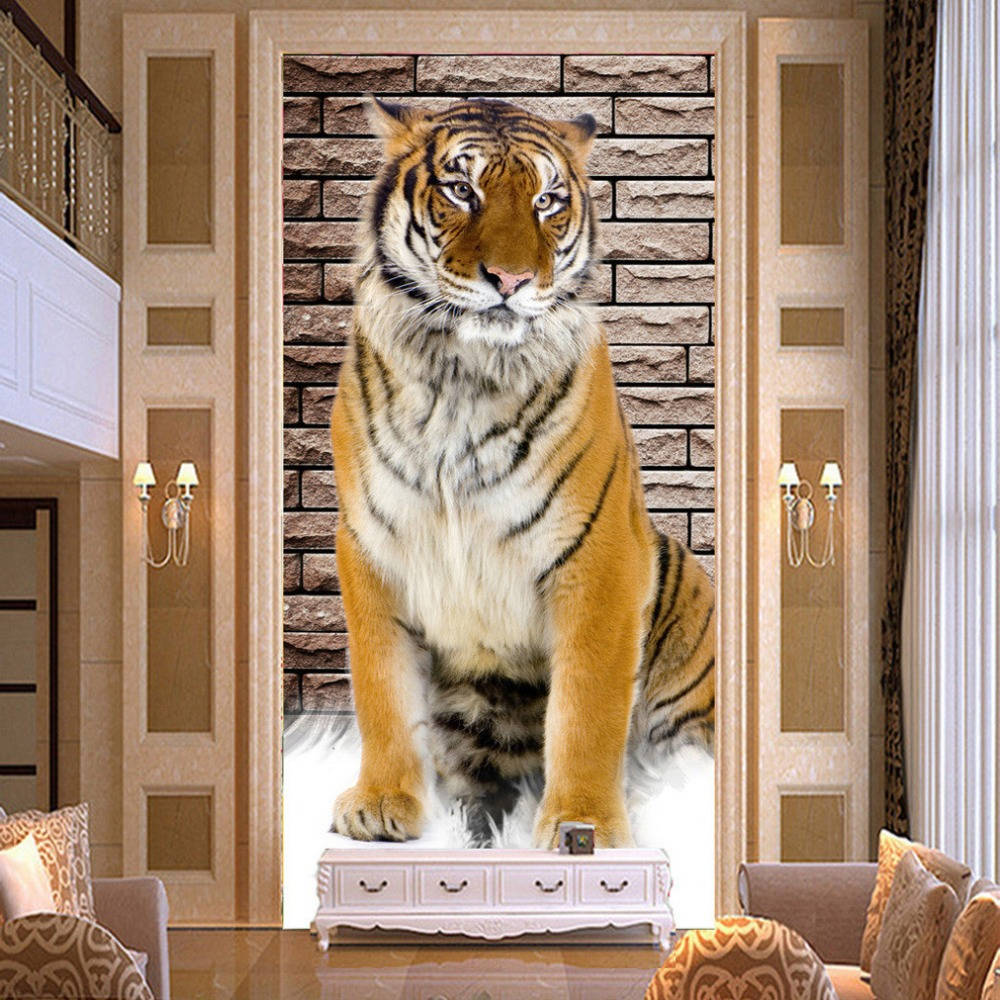 Custom Mural Wallpaper Non-woven 3D Tiger Entrance Corridor Backdrop Room Decoration Paintings For Living Room Wall Paper Decor