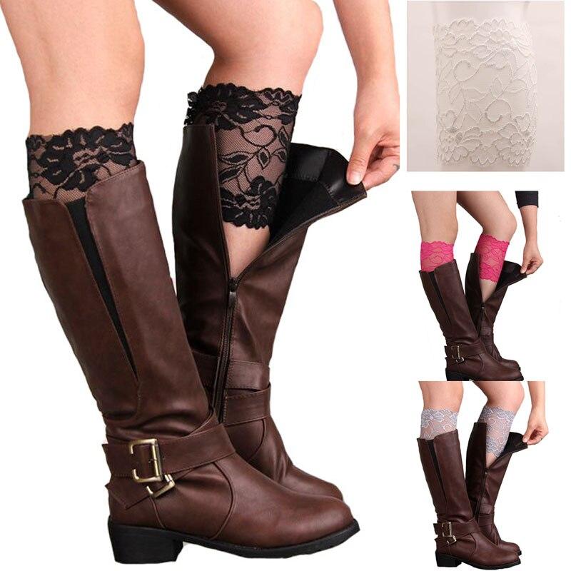 Fashion Saxy Stretch Lace Boot Cuffs Women GIRLS LEG WARMERS Trim Flower Design Boot Socks Knee