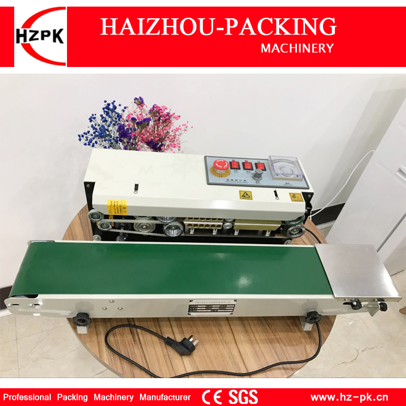 HZPK Metal With Spray Table Type Continuous Sealer Plastic Bags Sealing Machine With Conveyor Belt For Food Tea Bag Sealer FR770