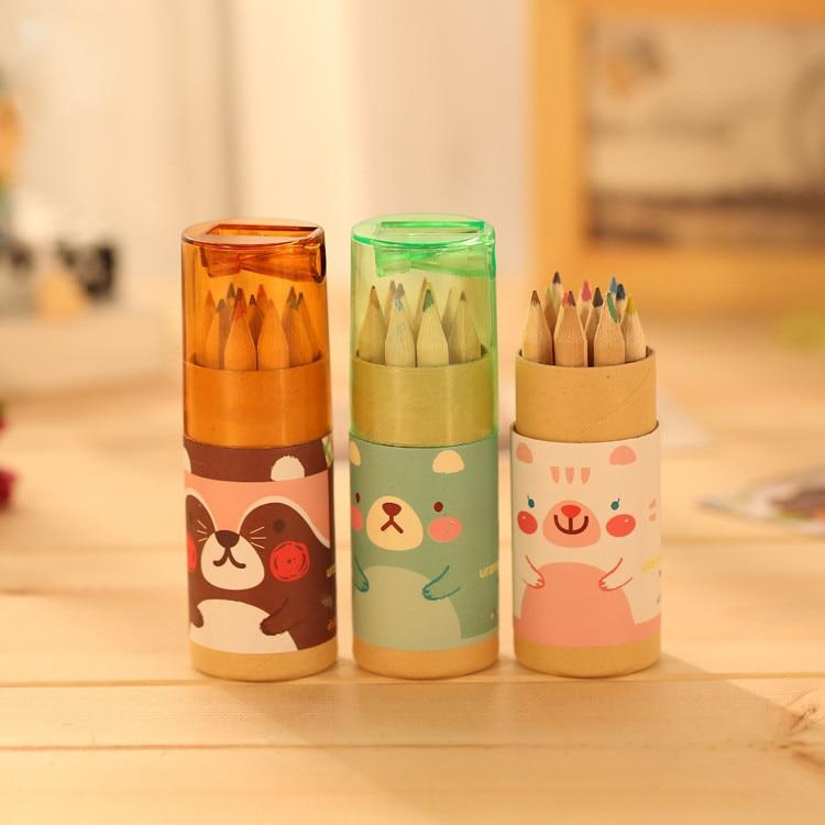 12PCS/set Kawaii Cute Bear Wooden Colored Pencil Set Wood Color Pencil for Kid School Graffiti Drawing Painting Papeleria sl1165