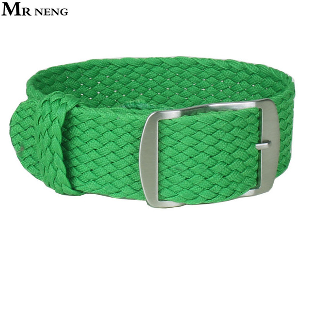 MR NENG 1 PCS / Wholesale Fashion Nylon Woven Watchband Watch Strap 20mm for Nato Perlon Watch Strap Grass green Color