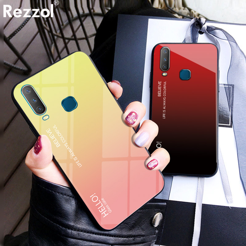 For <font><b>VIVO</b></font> Y17 <font><b>Case</b></font> Gradient Tempered Glass Soft Silicone Bumper Back Cover For <font><b>VIVO</b></font> <font><b>Y3</b></font> <font><b>Case</b></font> Rezzol Funda image