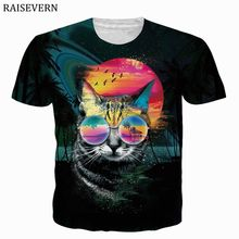 RAISEVERN Cat Sunglass T Shirt Men Women 3D Print Funny Tshi
