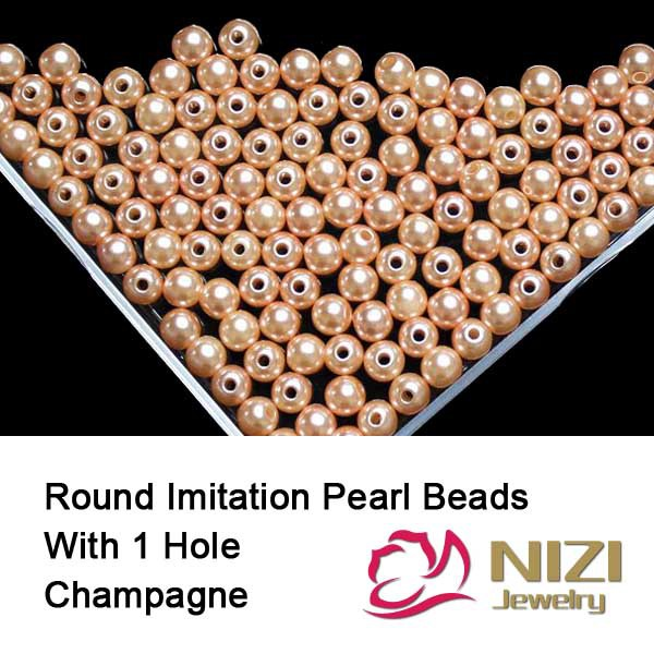 Champagne Resin Round Pearl Beads With Hole 100g/bag 6mm 8mm 10mm Pearl Beads For Jewelry Accessories Perfect For DIY Decoration new resin pearl beads 6mm 8mm 10mm resin round dark coffee imitation pearl beads with hole 100g bag perfect for diy decoration