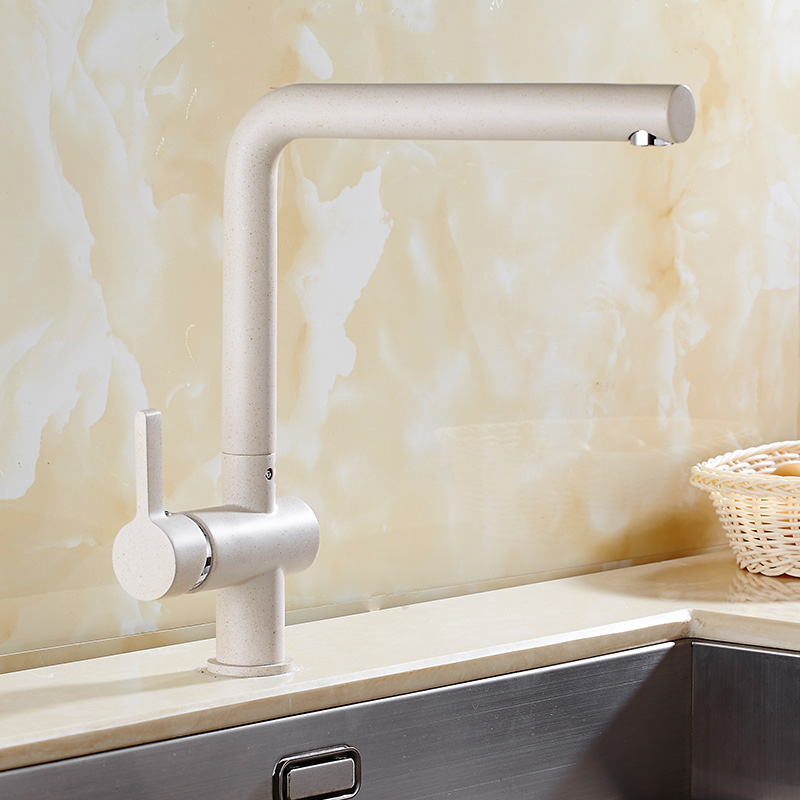 Hot Sale New Pull Out Kitchen Faucet White Painting Brass Vessel Sink Mixer Tap Sprayer Swivel Spout Mixer Tap White Kitchen Tap led spout swivel spout kitchen faucet vessel sink mixer tap chrome finish solid brass free shipping hot sale