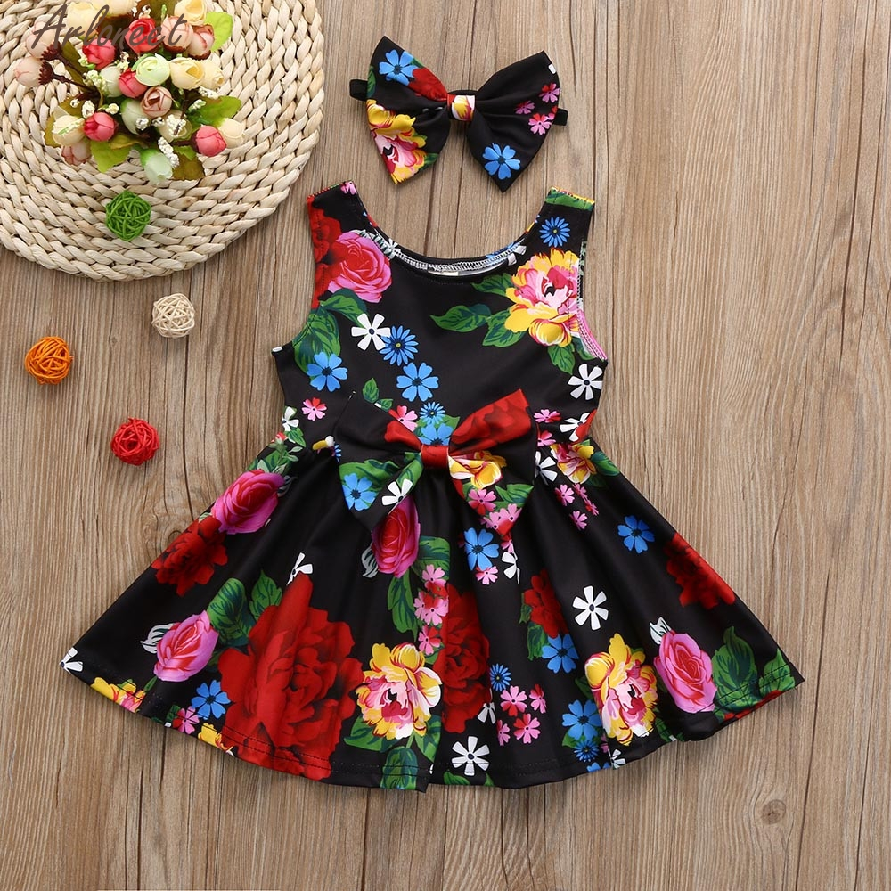 ARLONEET Toddler Kid Baby Girl Clothes Floral Bowknot Princess Party Dresses Outfits Sleeve Cute Suit Jan10 cute long sleeve ankle length girl dresses for weddings and party summer 2017 exquisite bowknot girl o neck princess dresses p25