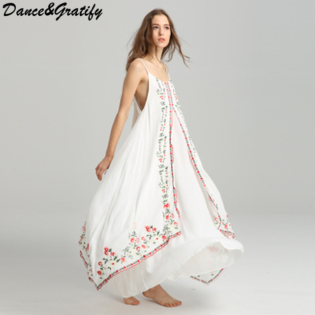 52ca9a151da Embroidery Long Maxi Boho Holiday Dress 2018 Spring Summer Sexy Spagheet Strap  Loose Beach Chic Femme Dresses Vestidos