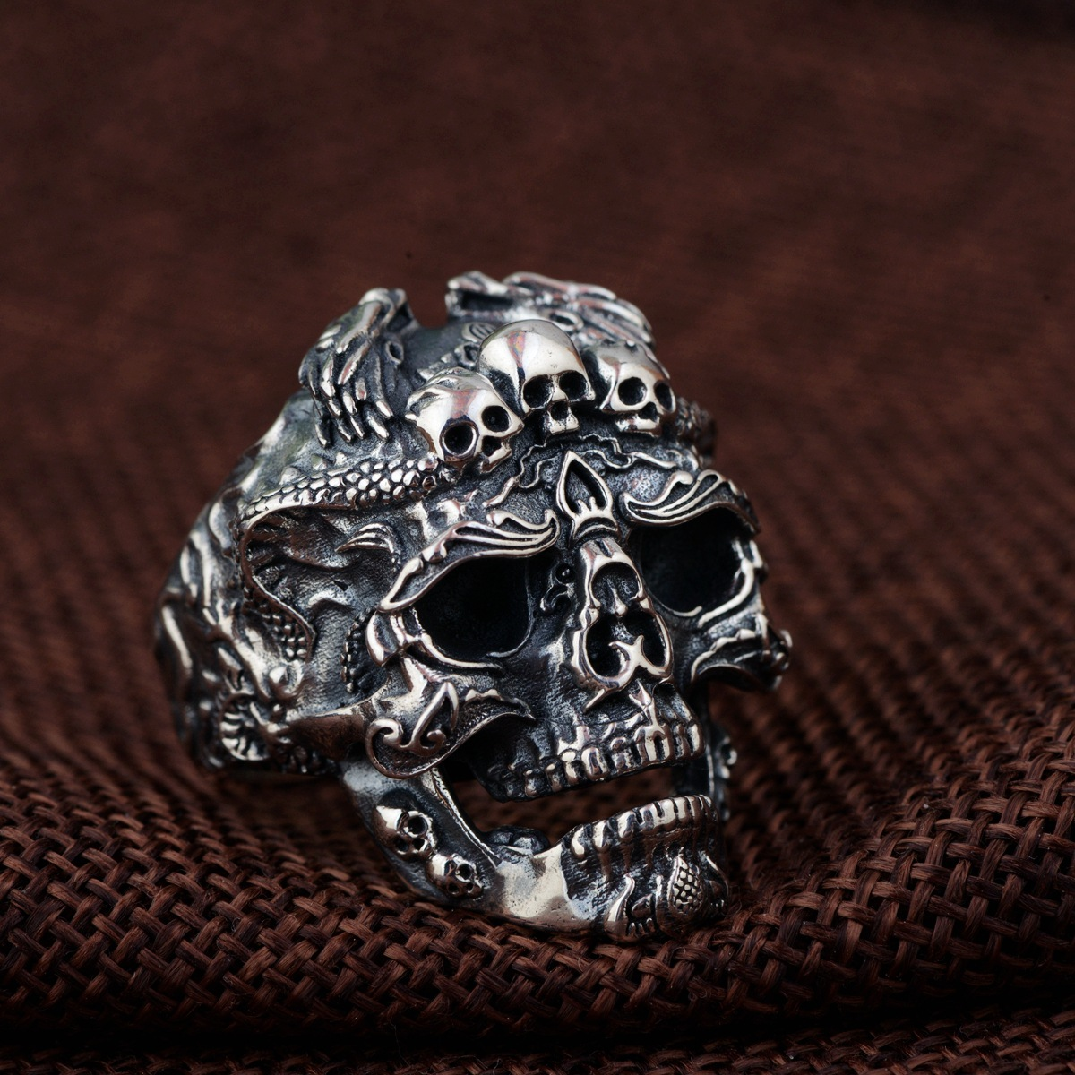 Emperor gold jewelry line Personality skull opening ring male money wholesale S925 pure silver antique style multi line high quality fashionable opening ring