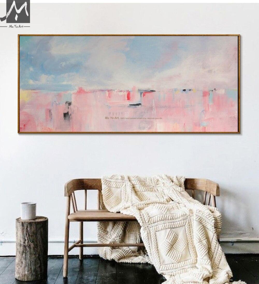 US $36.72 20% OFF|MUYA große abstrakte malerei leinwand kunst acryl malerei  hand bemalte leinwand ölgemälde Rosa wand bilder für wohnzimmer in ...