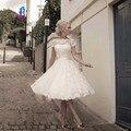 Vestidos de novia Vintage Scoop Encaje Cortos Vestidos de Novia Con Los Marcos de Encaje Hasta la Espalda Jardín vestido de Novia