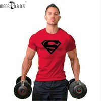 Hot Sale Pro Men S Superman Absorb Sweat Muscle T Shirt Workout Bodybuilding Tee Fittness Gyms