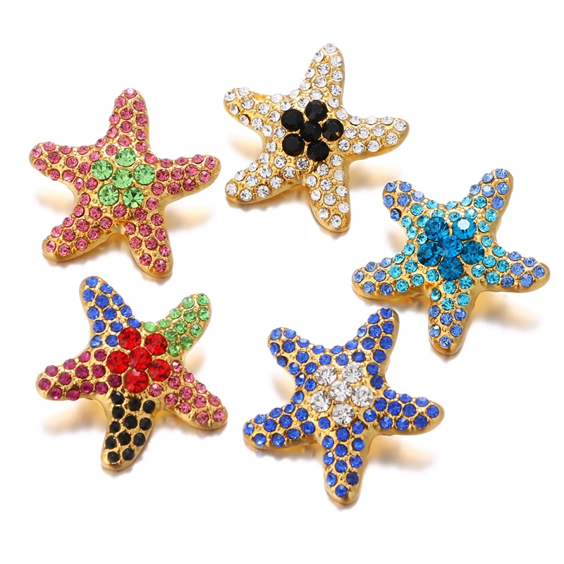 Colorful Crystal Snap Jewelry Starfish Ginger Snap Buttons DIY 18MM Snap Bracelets Neklace Button Women Jewelry