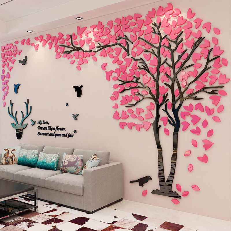 Forest Deer 3D Wall Sticker Smooth Mirror Acrylic Sitcker For Sofa TV Background Wall Decor Creative Lovers Tree Wallpaper Mural