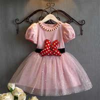 Summer New Baby Cô Gái Ăn Mặc Minnie Mouse Áo Dài cho Cô Gái công chúa minnie sinh nhật bên áo trẻ em quần áo trẻ em costume 3-8