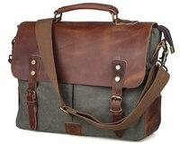 Dark Green Canvas Leather Messenger Bag For Men Vintage Leather Hobo Bags 11436