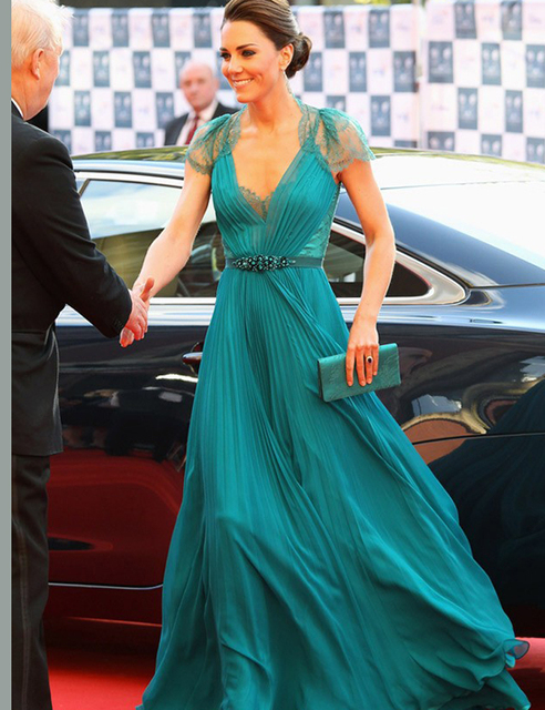 abd691f0918 Sexy V Neck Cap Sleeves Hunter Blue Evening Dresses Kate middleton Jenny  Packham Green Celebrity Dresses