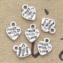 50 peças encantos coração feito à mão pingente 12x10mm, clássico tibetano bronze cor de prata, diy para colar