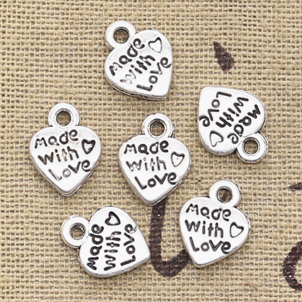 4pcs Retro Tibetan Silver Peach heart Crafts Charm Pendant Make Jewelry