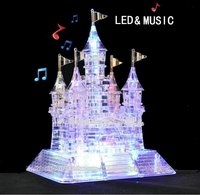 EBOYU TM 3D Assembly Crystal Castle Puzzle 3D Musical Puzzle With Beautiful Light Up Musical 105pcs