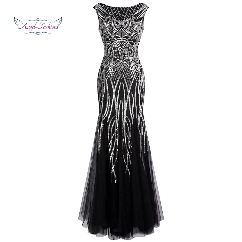 Angel fashions Women s Evening Dresses Long Party Gown Elegance Vintage Sequin 1920S Flapper Dresses 377