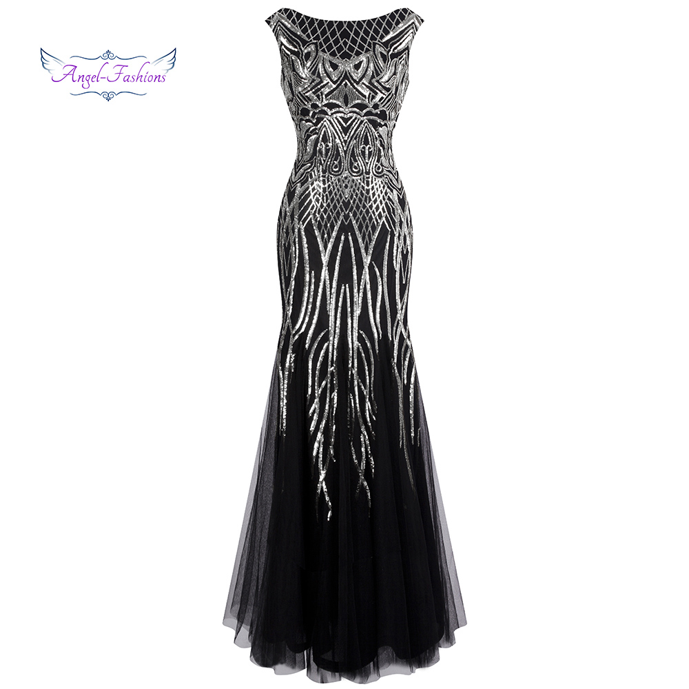 Angel-fashions Women's Evening Dresses Long Party Gown Elegance Vintage Sequin 1920S Flapper Dresses 377