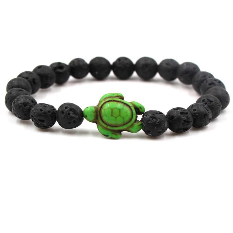 Verano Playa Mar tortuga cuentas pulsera para hombres encanto negro Lava Natural pulseras hilo piedras elásticas mujeres Boho joyas regalos