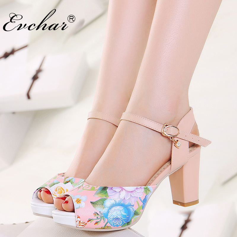 EVCHAR New Fashion pu print Leather High Heels Sandals Women Peep Toe fish mouth Heels Ankle Strap Shoes Summer big size 33-43 sandals casual peep toe fashion ankle strap wedge high heels pumps platform fish mouth size 4 34 small shoes suede women black