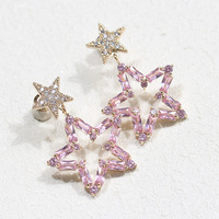 High Quality Luxury Powder Yellow Pentangle Star Earring Temperament 925 Silver Needle Ear Studs For Women