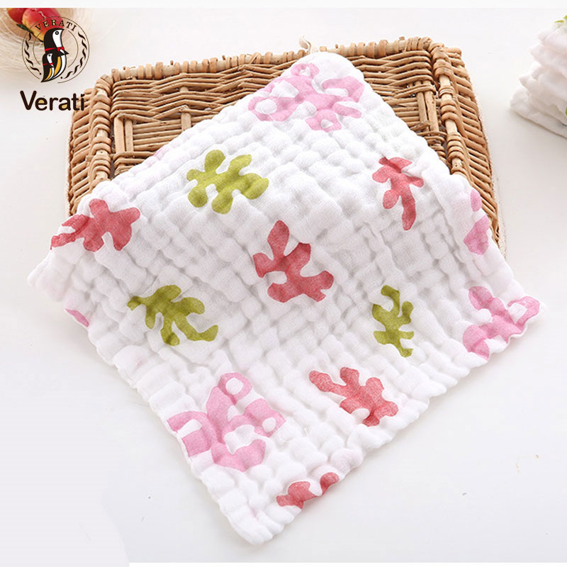 VERAT 4Pcs Cotton Baby Face Hand Bathing Towels Cartoon Printed Square Towel For Newborns Child Feeding Wipe Burp Cloths V012
