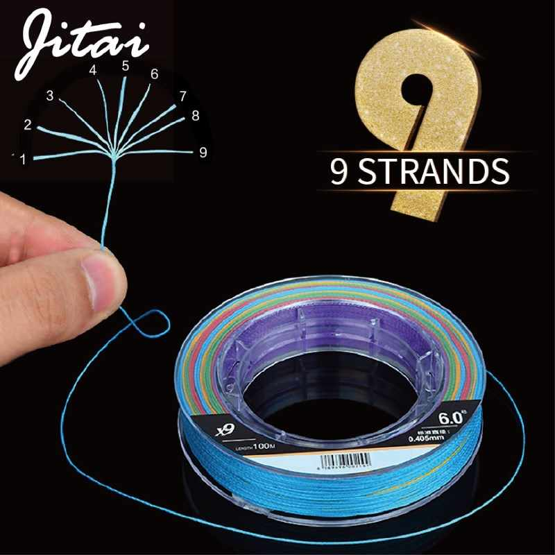 JITAI Multifilament PE Braided Fishing Line 9 Strands 100M 10M/Color Cord Carp Fishing Braid Line Rope Wire 10 - 65KG 23-143LB