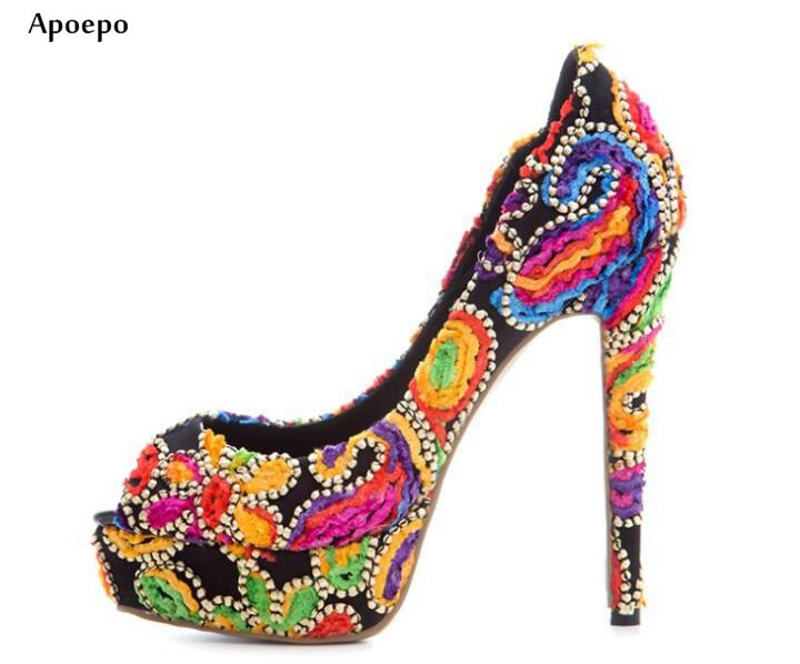 цены на New 2018 slip on sexy high heels pumps embroidered flowers plus size party shoes peep toe fashion platform woman shoes в интернет-магазинах