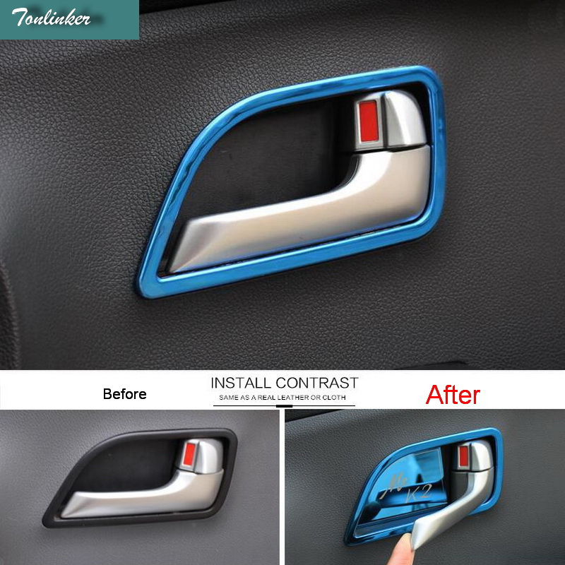 Tonlinker Cover Case Sticker For KIA RIO K2 2011-16 Car Styling 4 Pcs Stainless Steel Interior Door Handle Cover Case Sticker