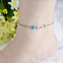 2014 New Fahion Women Bohemian Bead infinity Charm Chain Anklet Bracelet Beach Sandal Barefoot Jewelry Foot 0008 01G8
