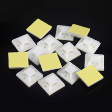 50Pcs 20mm*20mm White Tie Mount Plastic Self Adhesive Cable Mounter Base Holder Glue Type Cable Positioning Fixed Seat 100pcs nc 912 12 3x9 5mm black white stick fixed seat nylon plastic self adhesive tie base car recorder cable wire clamp clip