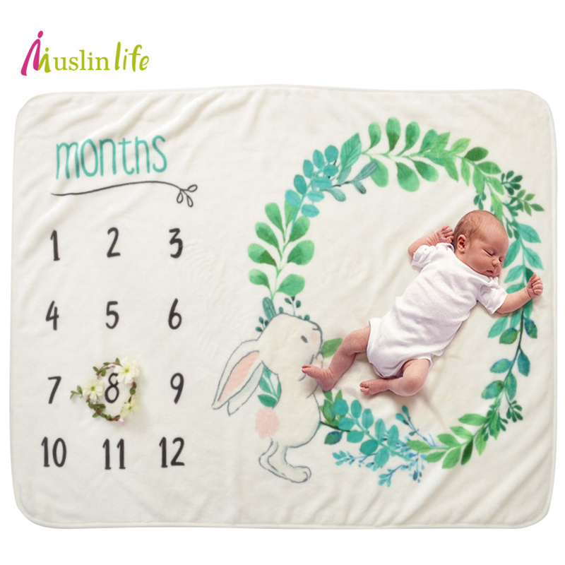 2018 Baby Blankets Swaddle Wrap Velvet Newborns Photography Props Polyester Flannel Baby Milestone Blanket  76*102cm