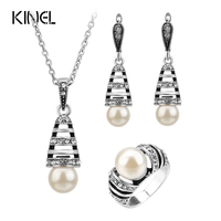 3Pcs Silver Color Pearl Jewelry Sets For Women Hollow Out Water Drop Necklace Earrings And Ring