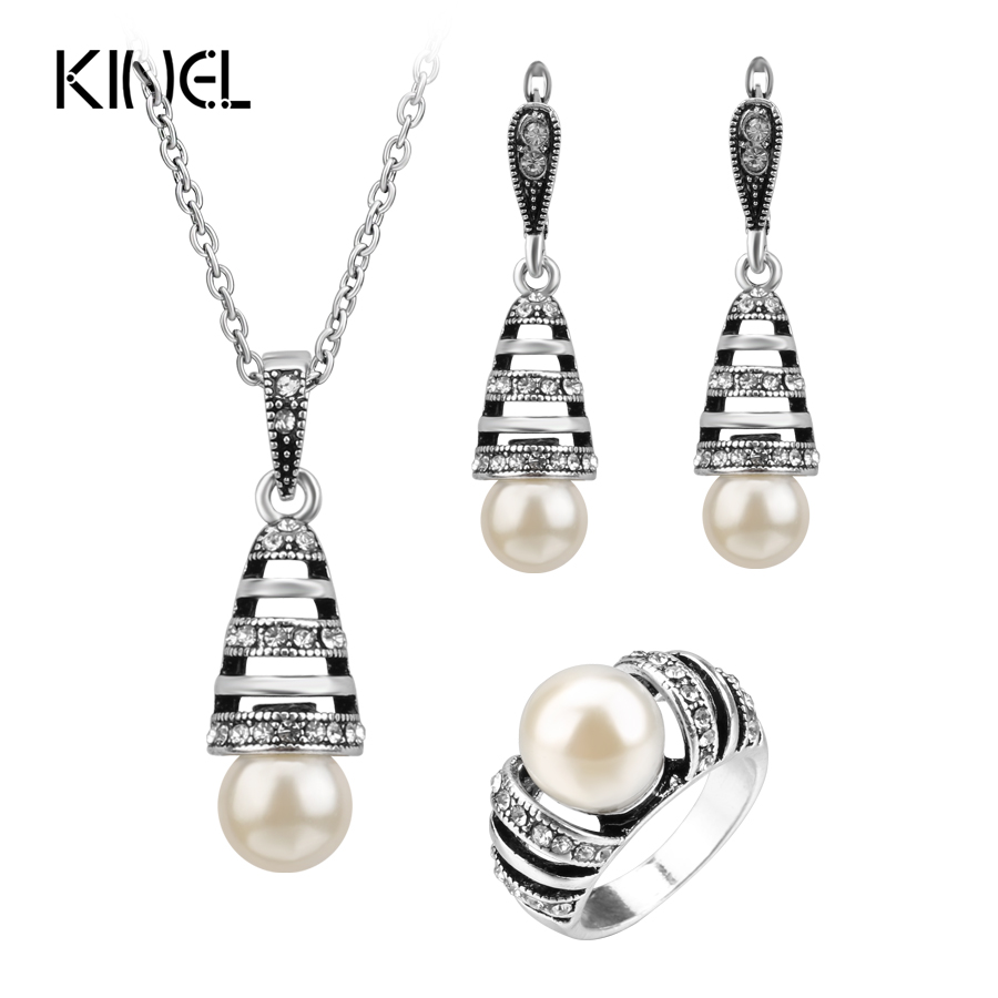 3Pcs Silver Color Pearl Jewelry Sets For Women Hollow Out Water Drop Necklace Earrings And Ring Vintage Wedding Jewelry Set fashion girls winter coat long down jacket for girl long parkas 6 7 8 9 10 12 13 14 children zipper outerwear winter jackets