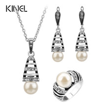 3Pcs Silver Color Pearl Jewelry Sets For Women Hollow Out Water Drop Necklace Earrings And Ring Vintage Wedding Jewelry Set(China)