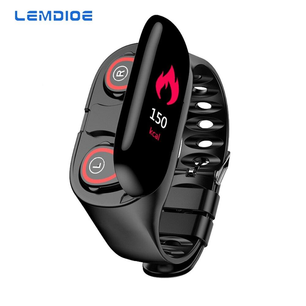 LEMDIOE 2019 New Smart Watch With Bluetooth Earphone men women Heart rate Blood pressure monitoring smartwatch for ios android фитнес браслет с беспроводными наушниками